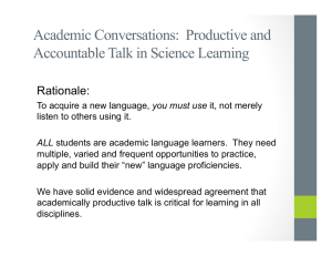 Academic Conversations: Productive and Accountable Talk