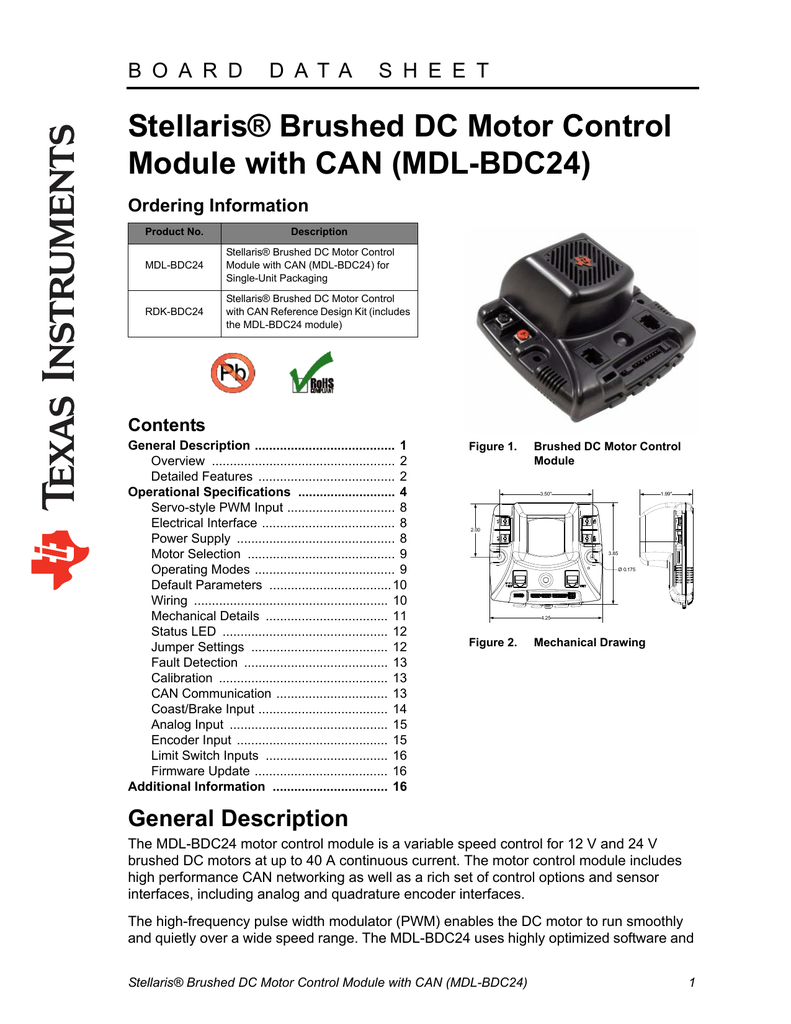 Stellaris Brushed Dc Motor Control Module With Can Mdl Wiring Mechanical Brake Switch