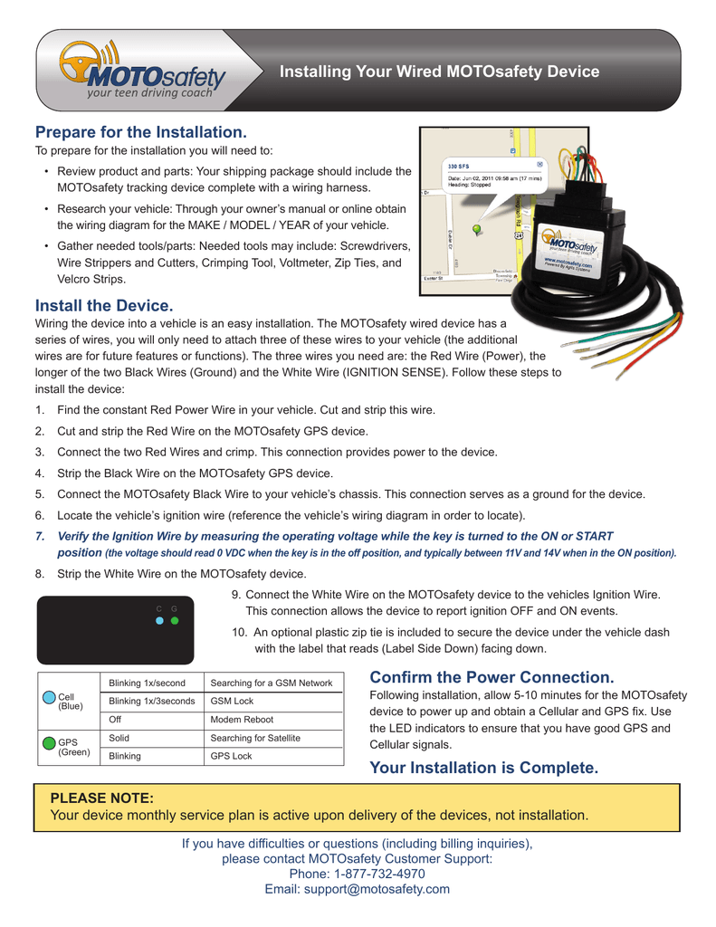To Installation Instructions For The Motosafety Wired Device Wiring Diagram Ignition Vtween