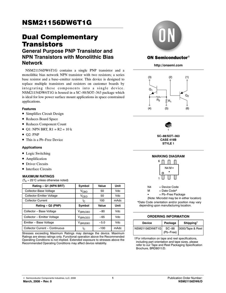 Nsm21156dw6t1g Dual Complementary Transistors Mt Circuit Diagram Of A Darlington Pair Using Npn