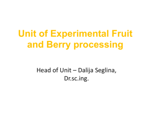 Unit of Experimental Fruit and Berry processing