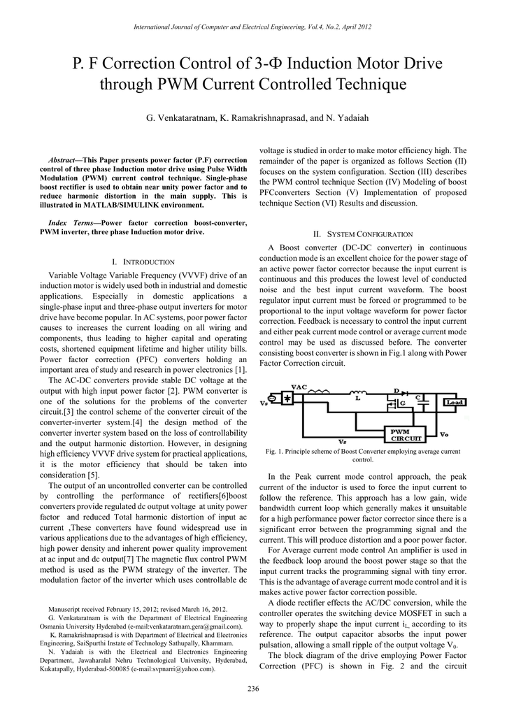 P  F Correction Control of 3-Ф Induction Motor Drive through