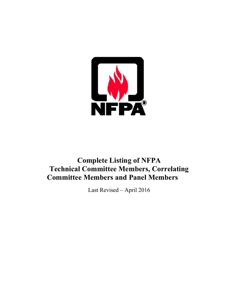 List of NFPA Technical Committees
