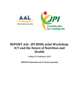 REPORT AAL- JPI HDHL Joint Workshop: ICT and the future of