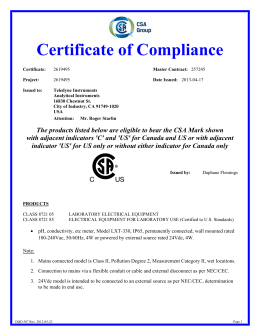 Certificate of Compliance - Teledyne Analytical Instruments