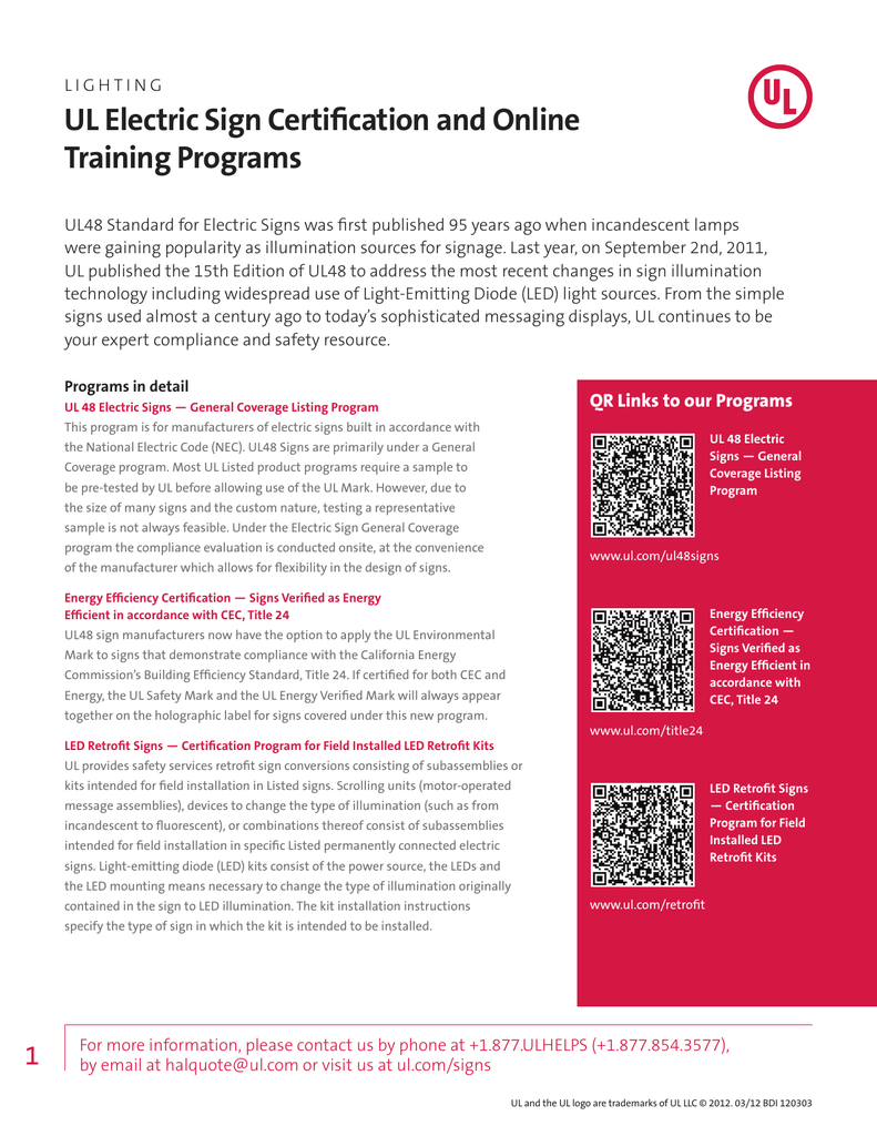 Ul Electric Sign Certification And Online Training Programs Sellsheet