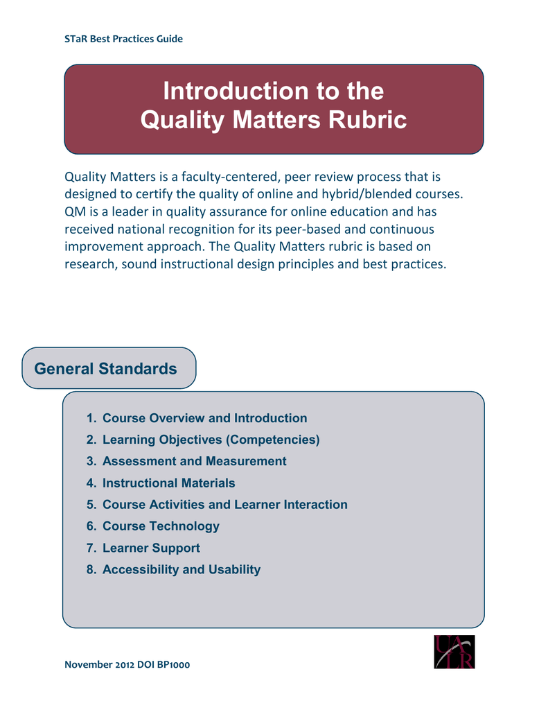 Introduction To The Quality Matters Rubric