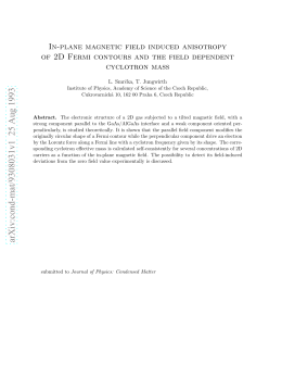 In-Plane Magnetic Field Induced Anisotropy of 2D Fermi Contours