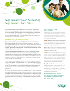 Sage BusinessVision Accounting Sage Business Care Plans