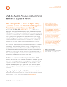 BQE Software Announces Extended Technical Support Hours