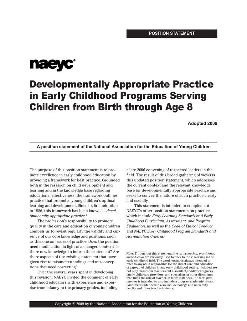 statement of purpose early childhood education