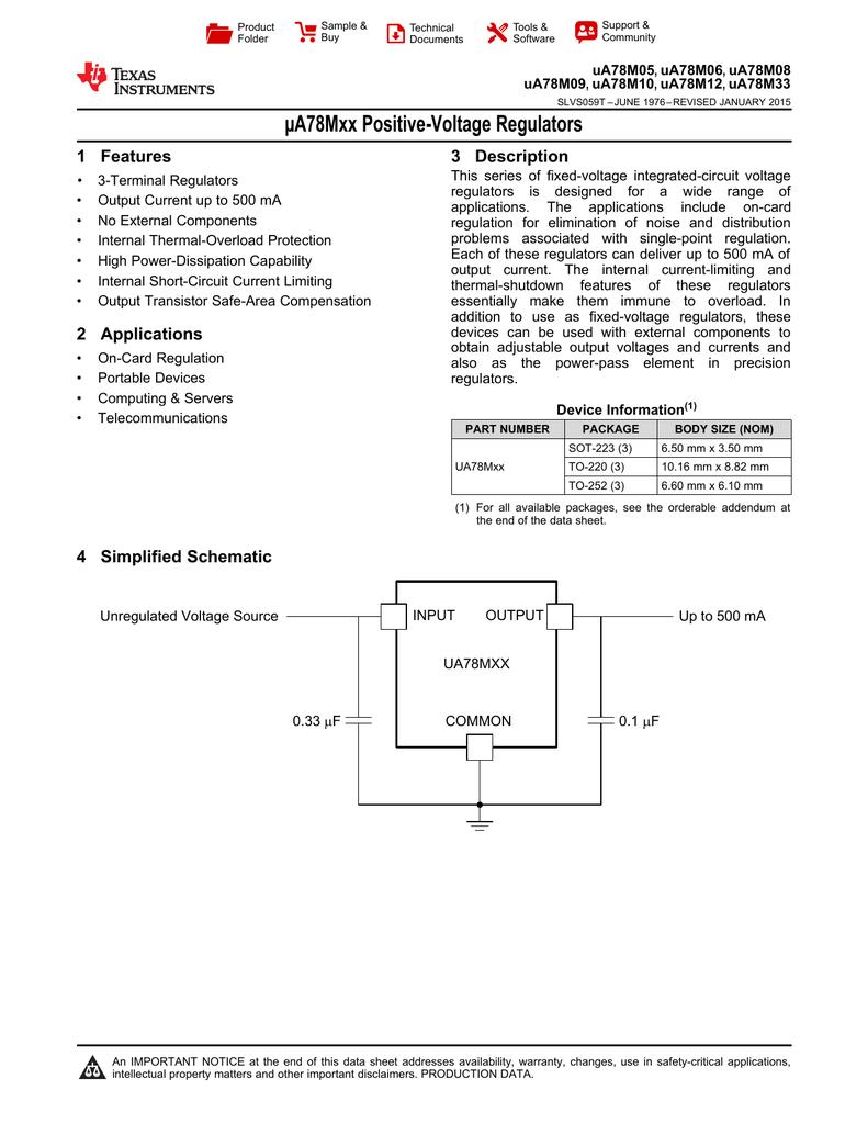 Ua78mxx Positive Voltage Regulators Rev T Omap 5 Block Diagram