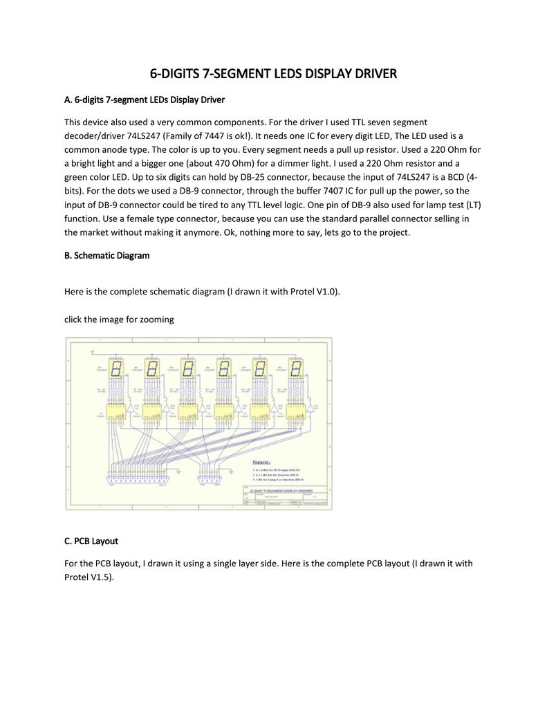 6 Digits 7 Segment Leds Display Driver Circuit Diagram