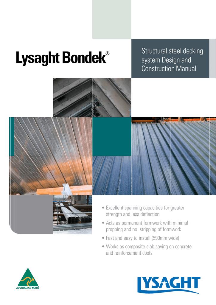 LYSAGHT BONDEK® Design And Construction Manual