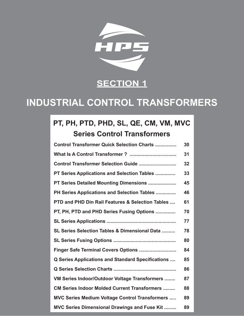 INDUSTRIAL CONTROL TRANSFORMERS on