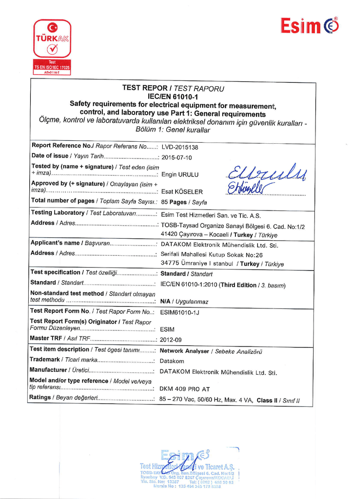 Ce Safety Test Report Datakom Electronics Engineering As