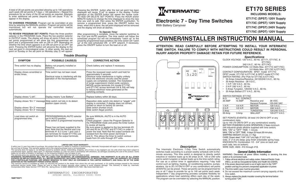 intermatic et171 time clock wiring diagram enthusiast wiring rh rasalibre co