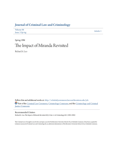 The Impact of Miranda Revisited