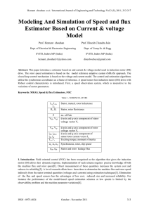 Modeling And Simulation of Speed and flux Estimator Based on