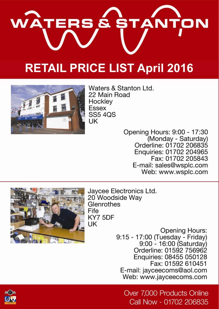 current price list - Jaycee Electronics Ltd