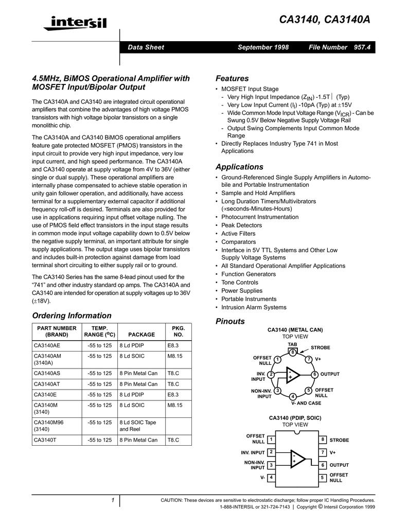 intersil ca3140 op ampBaxandall Tone Control Using Ca3140 Op Amp #10
