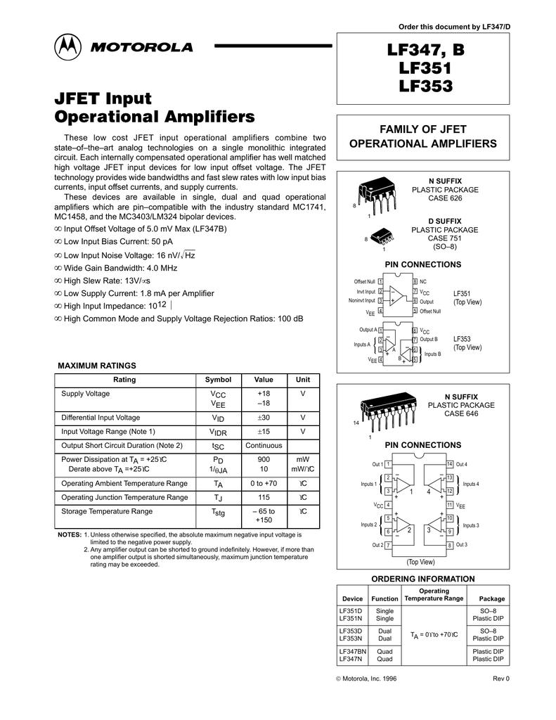 Jfet Input Op Amps Wide Bandwidth