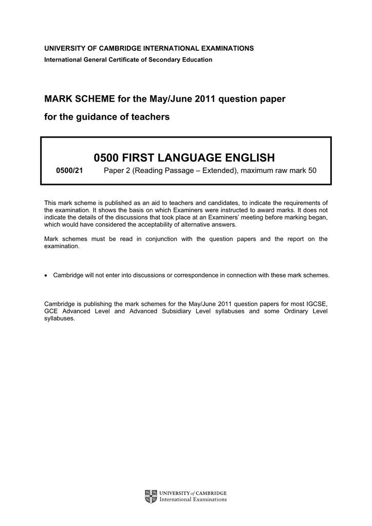 IGCSE English June 2011 Paper 2 A – MS