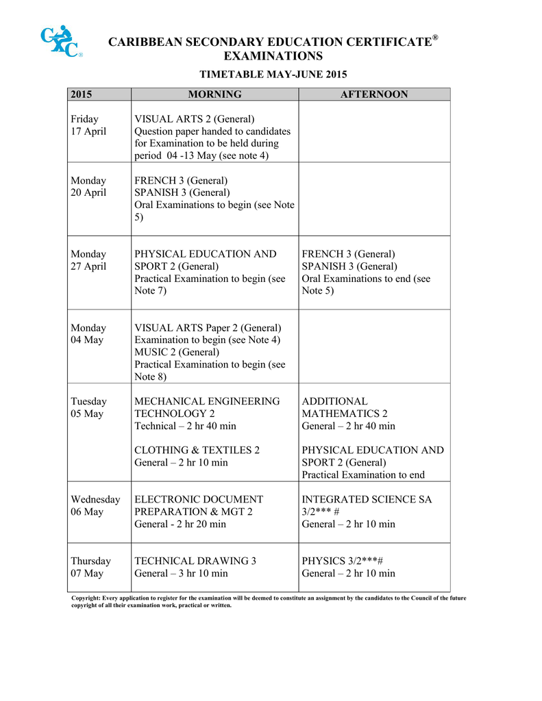 CSEC May 2015 – June 2015 Timetable