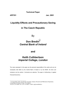 4/RT/01 - Liquidity Effects and Precautionary Saving in the Czech