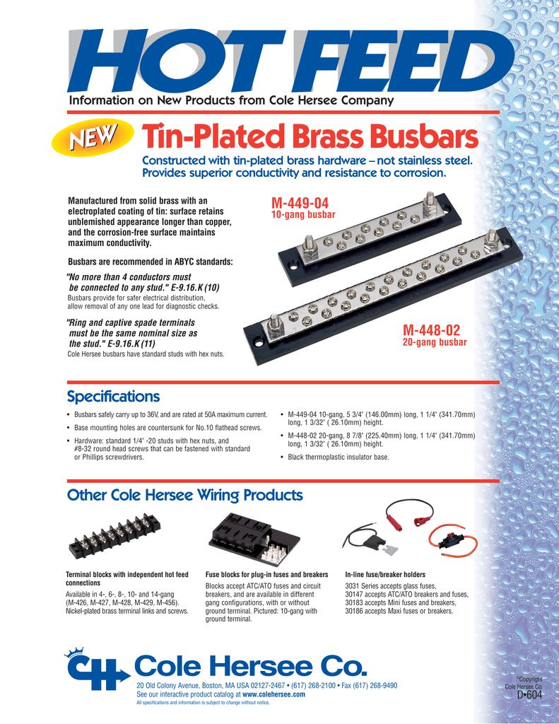 Tin-Plated Brass Busbar Info Sheet - D-604