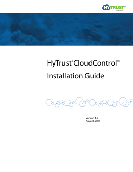 HyTrust®CloudControl™ Installation Guide