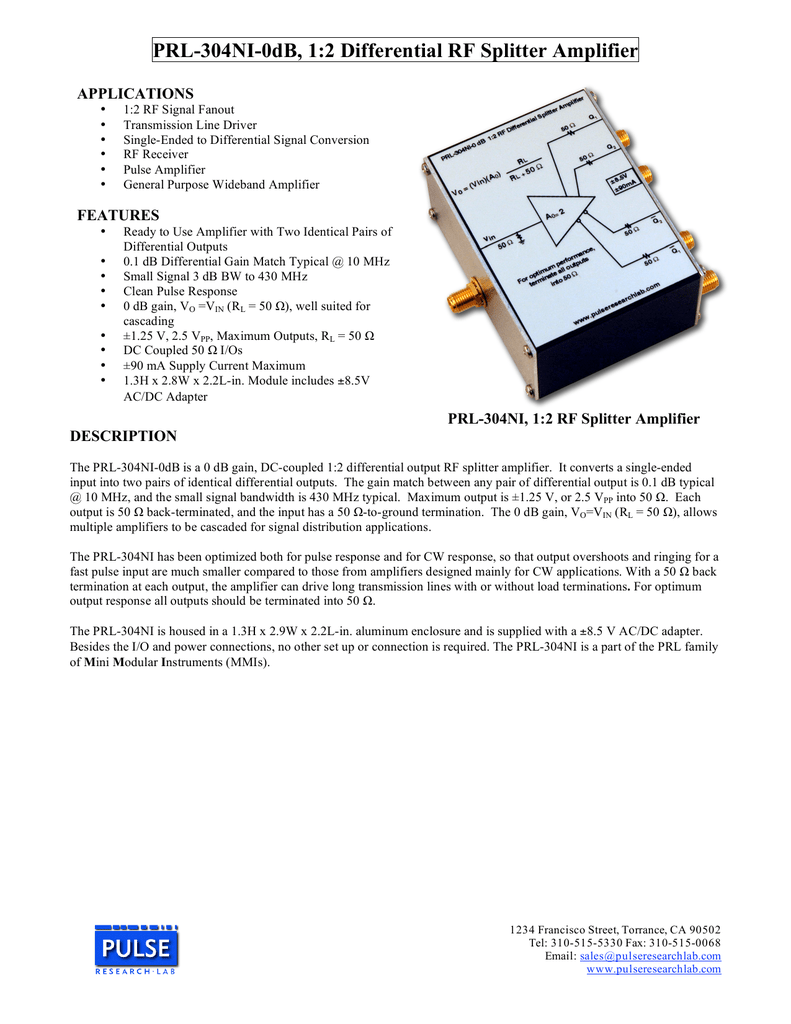 PRL-304NI-0dB, 1:2 Differential RF Splitter Amplifier