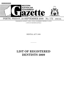 list of registered dentists 2009