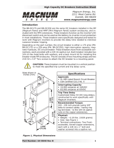 High Capacity DC Breakers Instruction Sheet