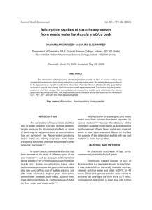 Adsorption studies of toxic heavy metals from waste water by Acacia