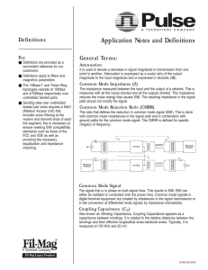 Application Notes and Definitions