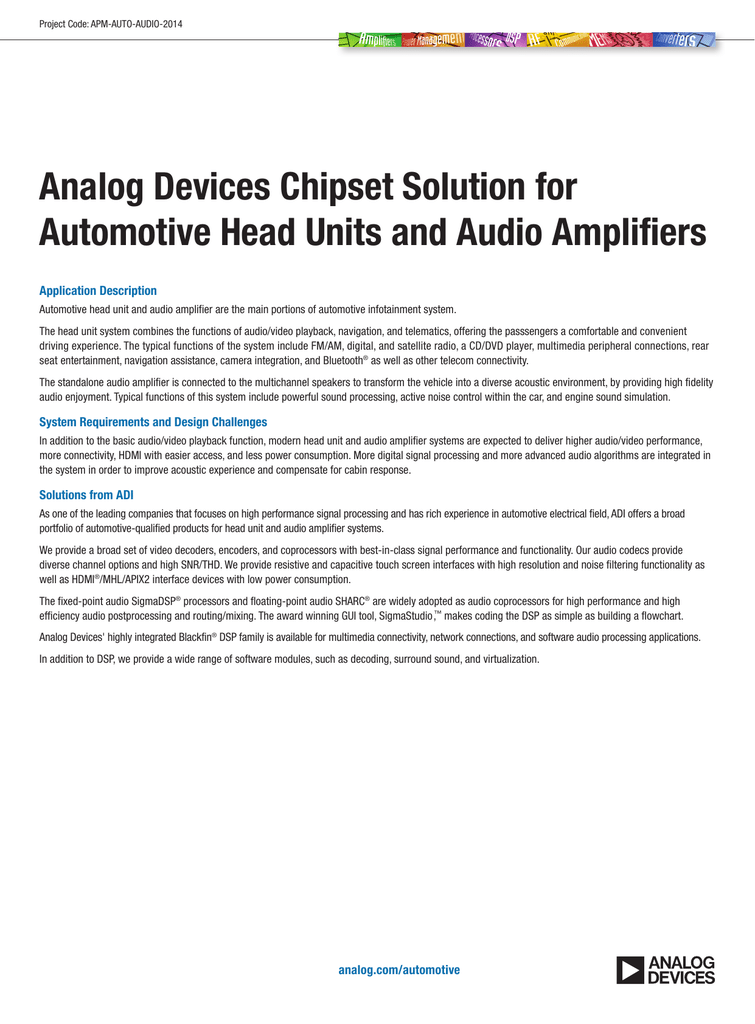 Analog Devices Chipset Solution for Automotive Head Units and