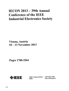 IECON 2013 - Conference of the IEEE Industrial Electronics Society