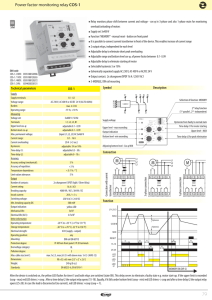 Power factor monitoring relay COS-1