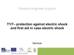 protection against electric shock and first aid in case electric shock