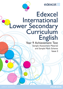 Edexcel International Lower Secondary Curriculum English