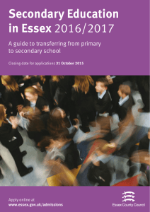 Secondary Education in Essex 2016/2017