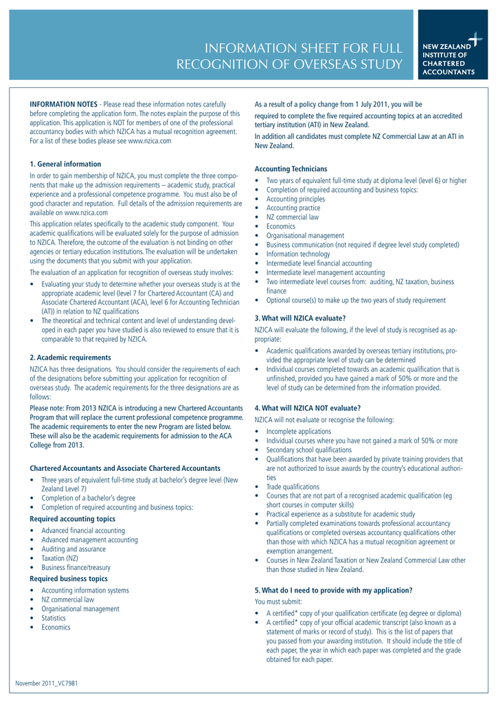 Information Sheet For Full Recognition Of Overseas Study