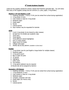 Academy Supply List - Anderson School District Five