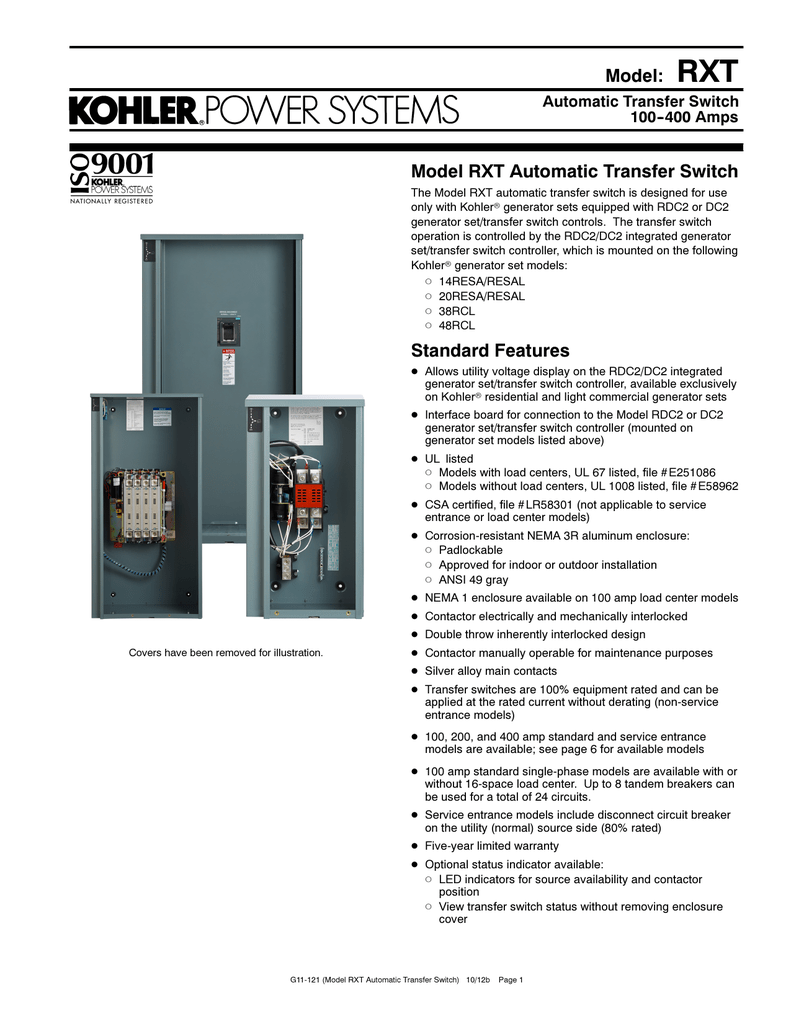 Rxt Transfer Switch Wiring Diagram Diagrams Generator On Position Kohler 41 Schematic Manual