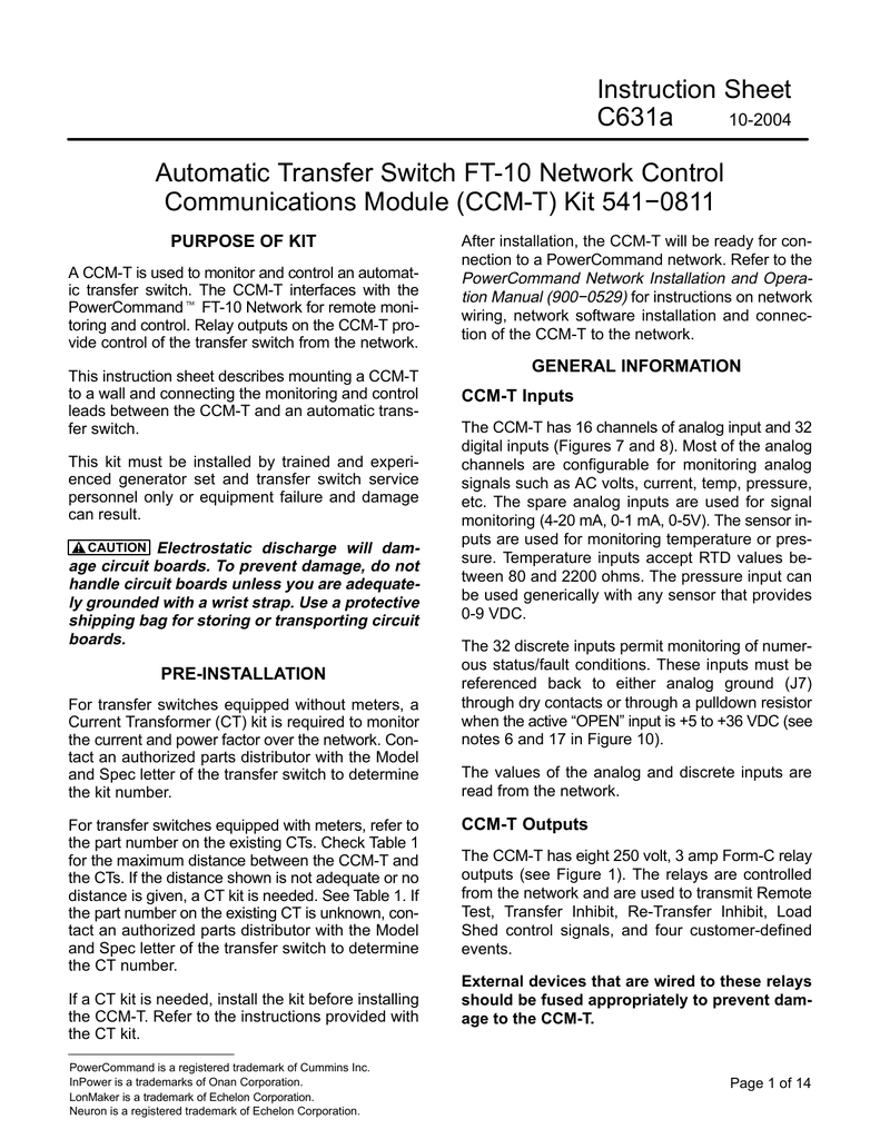 Instruction Sheet C631a Automatic Transfer Switch Ft Need To Know Wire The Id Of 4 Wires For Remote Start On Onan