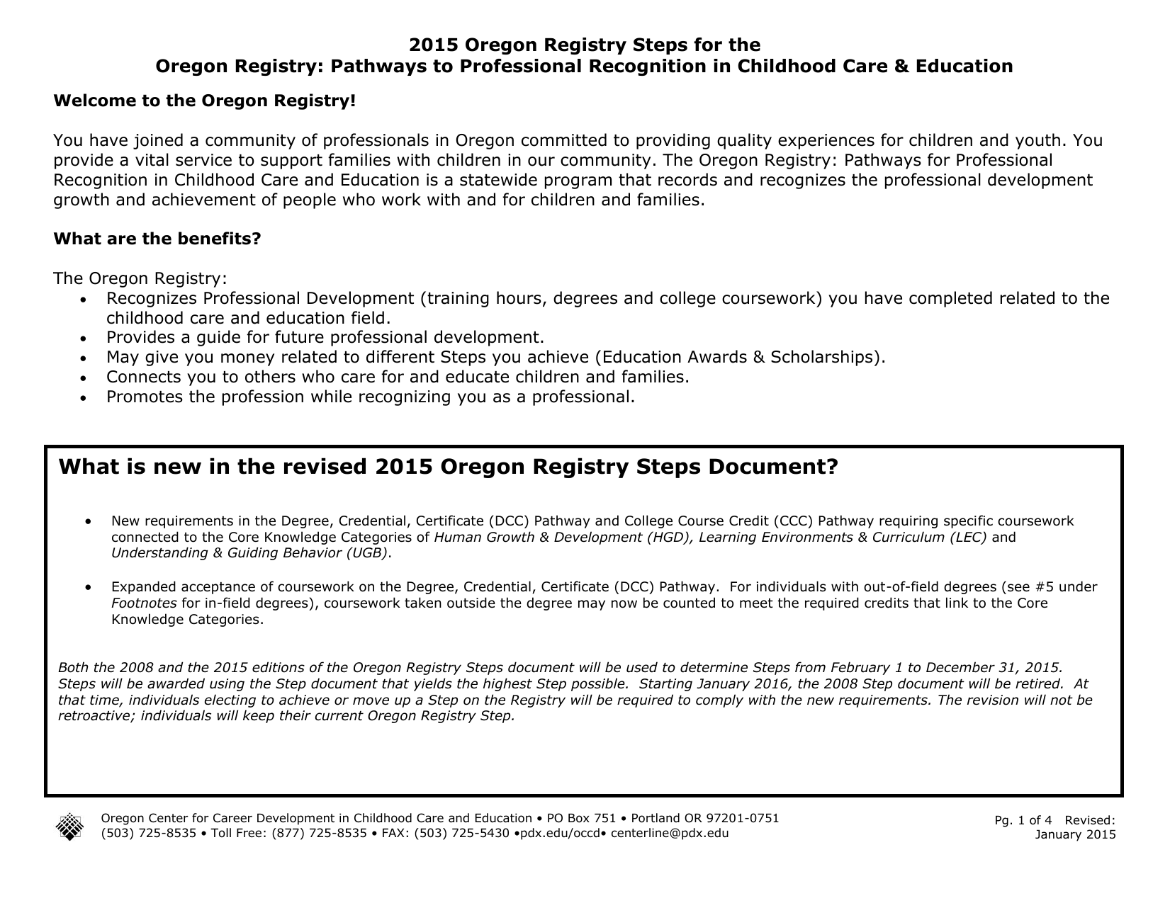 what is new in the revised oregon registry steps document