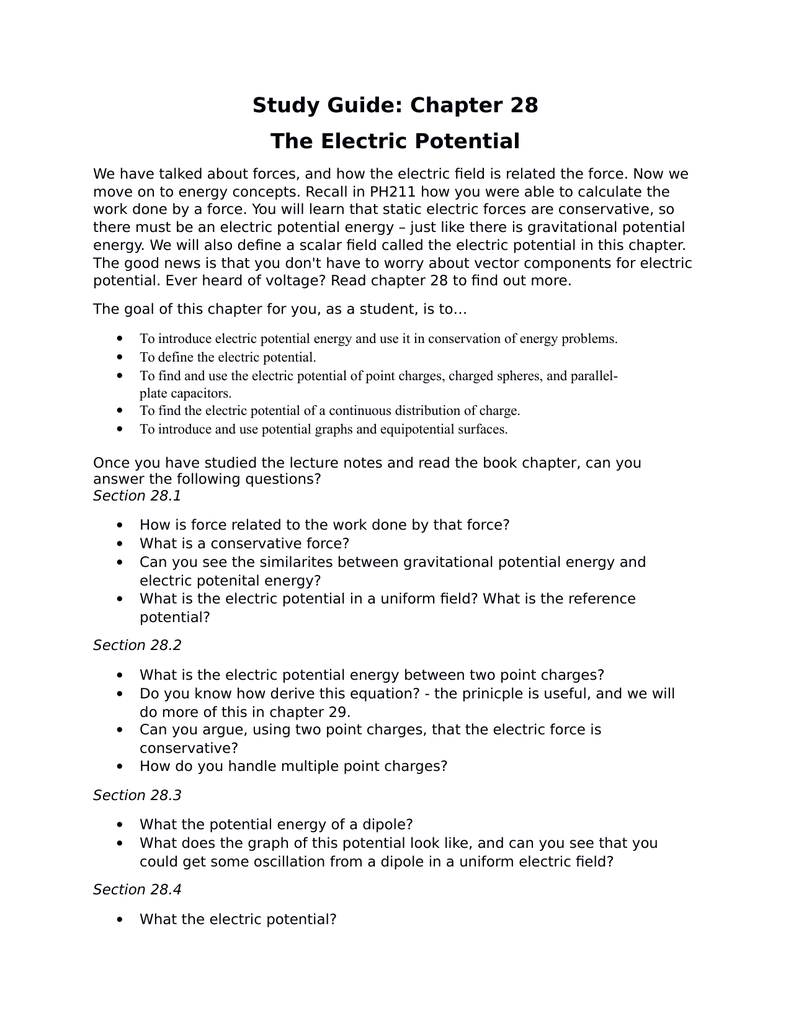 study guide chapter 28 the electric potential rh studylib net section 1 study guide electric charge 20 study guide section 20.1 electric charge