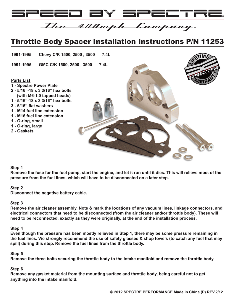 Throttle Body Spacer Installation Instructions P/N 11253