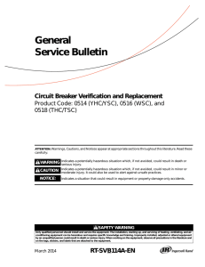 General Service Bulletin Circuit Breaker Verification and